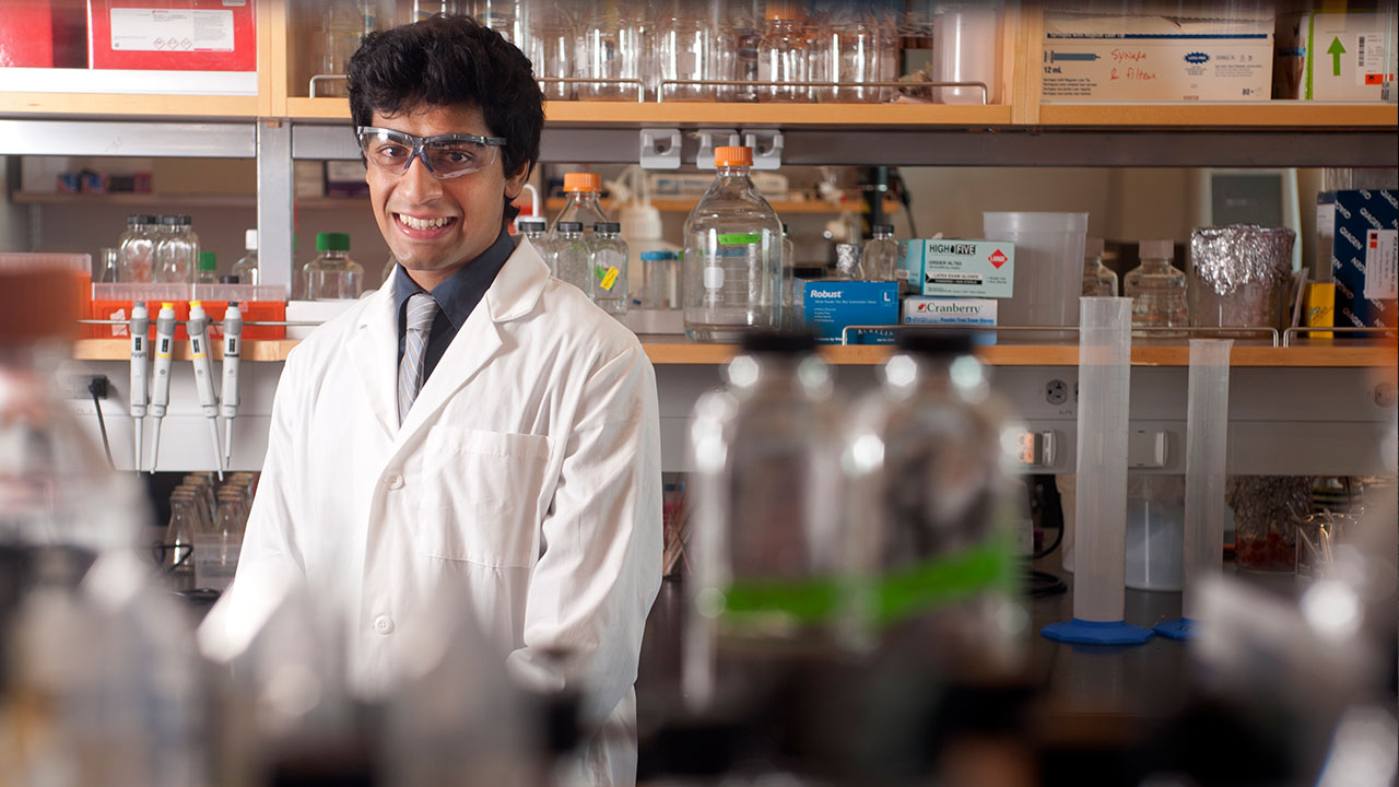 Akshay Sethi, a biochemistry and molecular biology major, is a member of a team that are working on a bacteria that will break plastics down into their component parts, which can then be sold to make more plastic